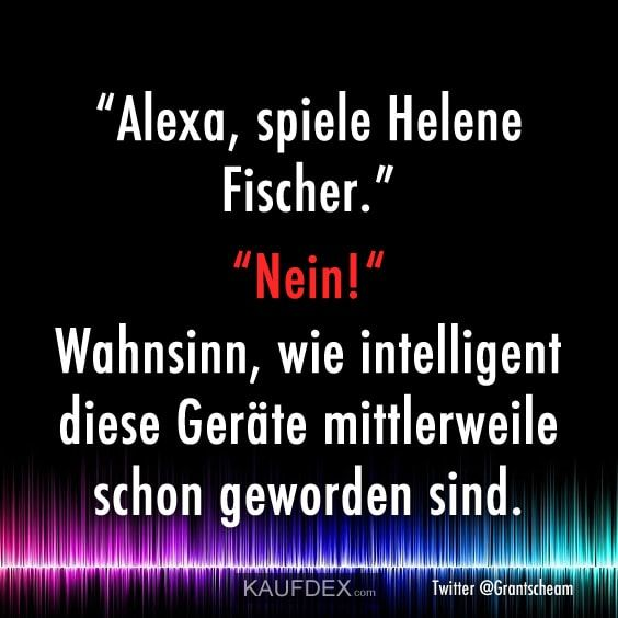 Alexa, spiele Helene Fischer... | Lustige sprüche, Witzige ...