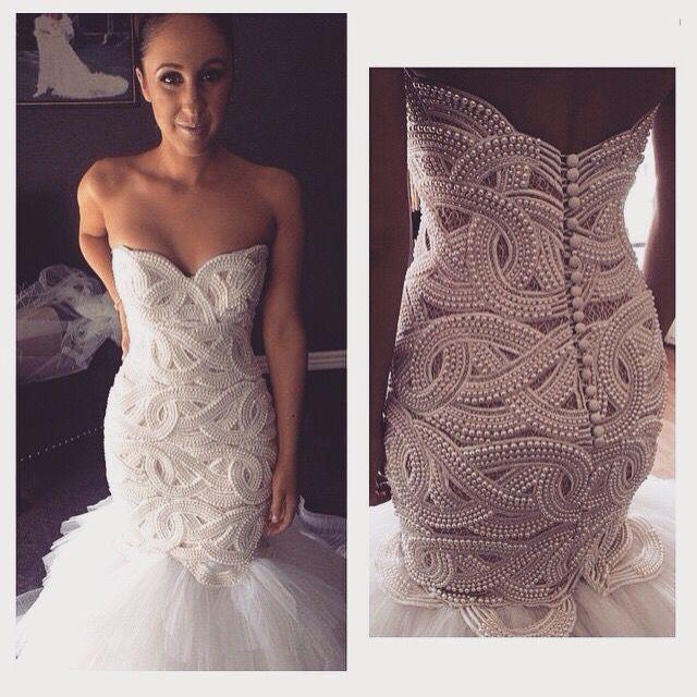 New Heavy Handworks Luxury Pearls Mermaid Wedding Dresses Sweetheart ...