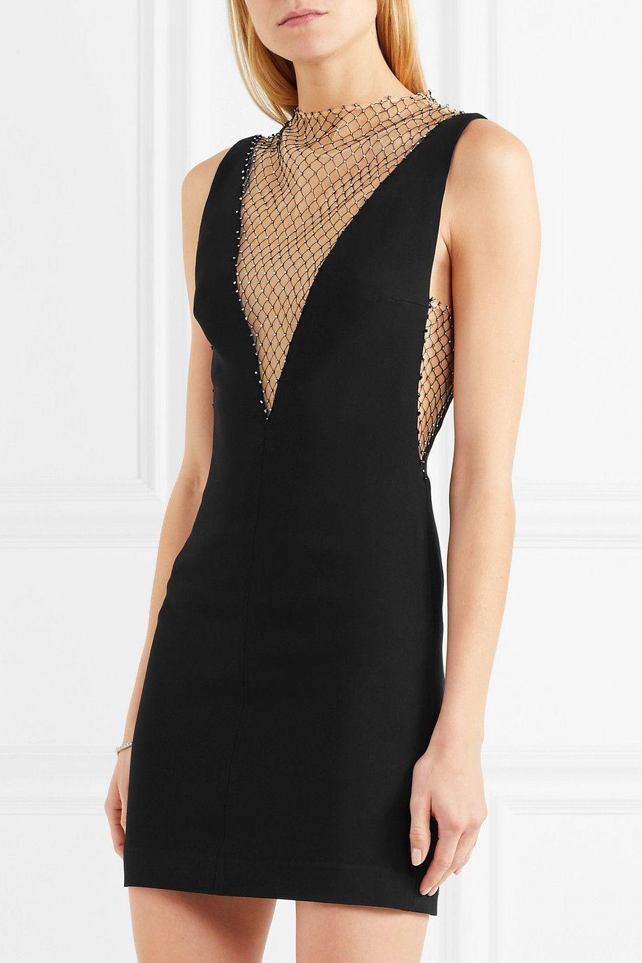 54283d32d7cc Stella McCartney | Crystal-embellished mesh and cady mini dress | NET -A-PORTER.COM