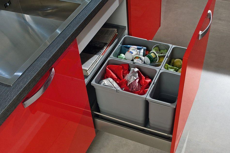Unterschrank Küche Aspen Rot Hochglanz