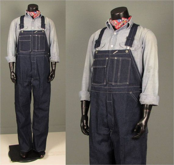 Vintage Mens 1940s 1950s Workwear Denim Overalls By