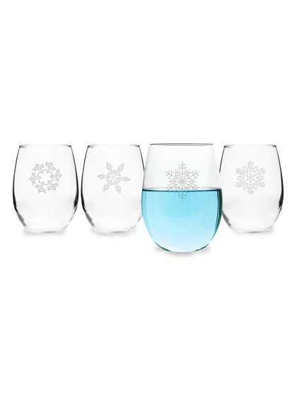 Personalized Gifts Snowflake Stemless Wine Glasses (Set of 4)