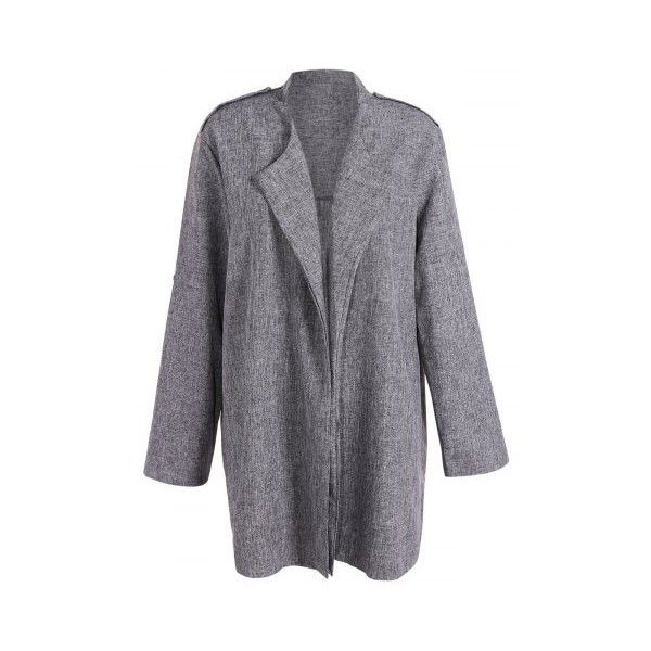 Outdoor Plus Size Open Front Lapel Coat (€20) ❤ liked on Polyvore featuring outerwear, coats, lapel coat, plus size coats, open front coat, womens plus coats and women's plus size coats
