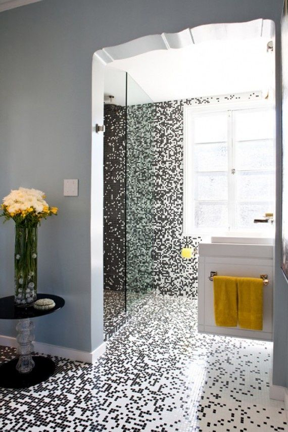 Black And White Tile Explosion  Bathroom  Pinterest  White Fascinating Black And White Mosaic Tile Bathroom Decorating Design