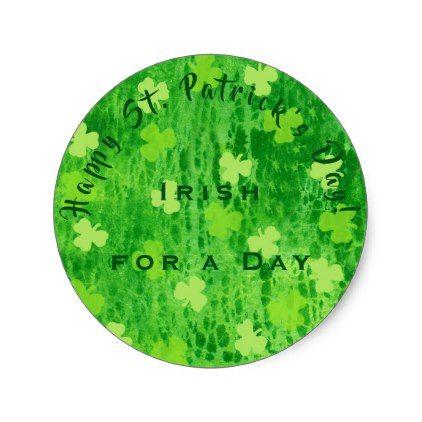 Irish for a day shamrock pattern round sticker round stickers