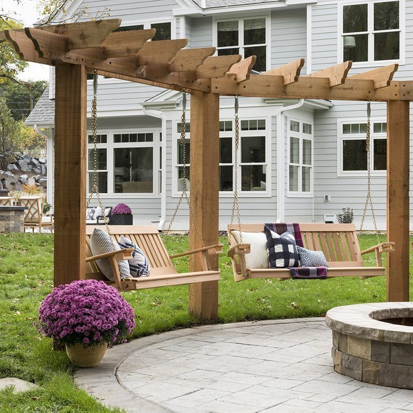 Photo of outdoor swings around fire pit