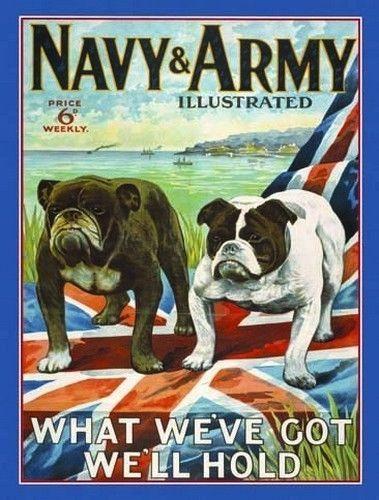 Novelty Fridge Magnet Navy /& Army Forces Vintage British Bulldogs Dog