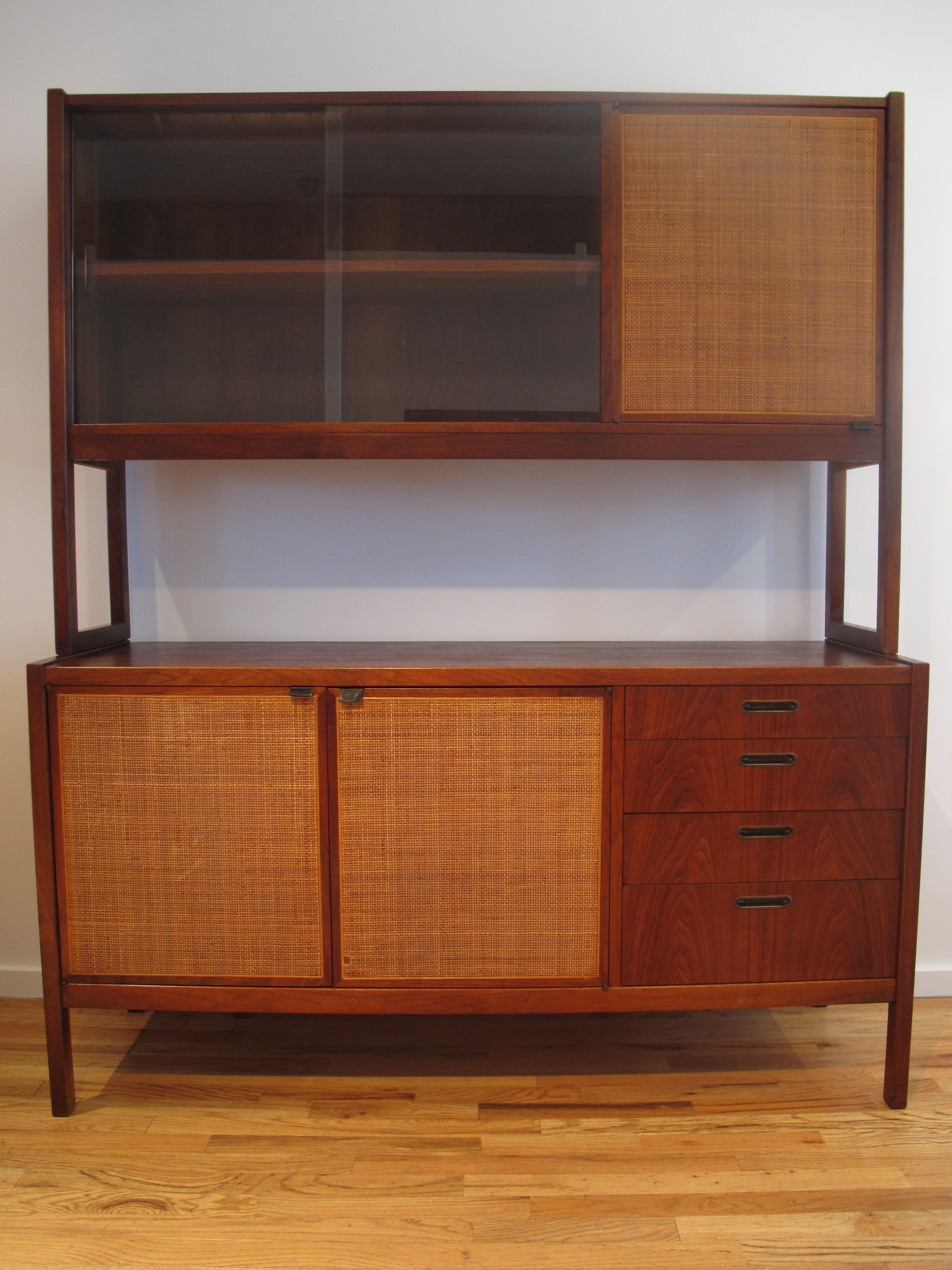 MID CENTURY CANE & WALNUT CABINET AFTER FLORENCE KNOLL ...