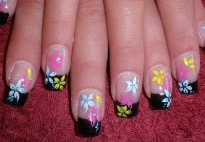 this is soooo freaking adorable, LOVE it - French manicure with black tips and spring colorful flower decoration    spring nail art