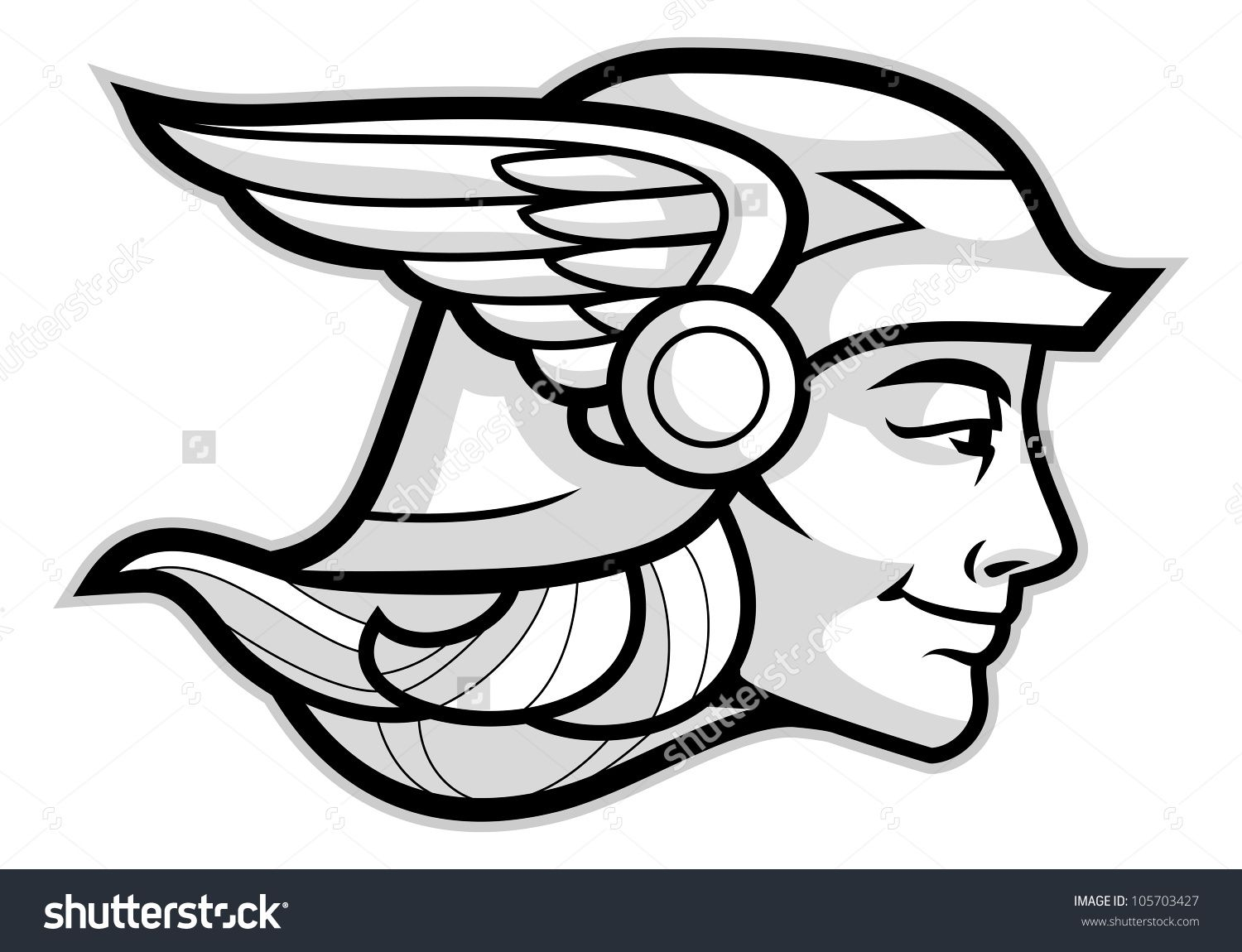 Head Of A Greek God Hermes Isolated On White Stock Vector ...