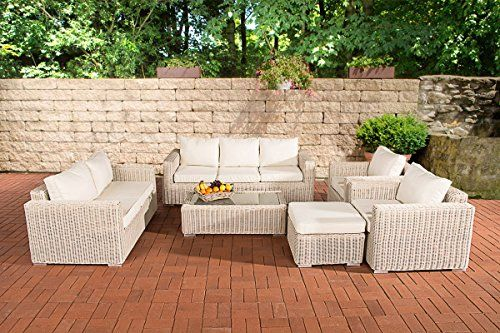 Clp Luxury Poly Rattan Garden Sofa Set Madeira Xl 5 Mm With Aluminium Frame Seats Up To 7 People Fully Embled Cushion Cream Colour