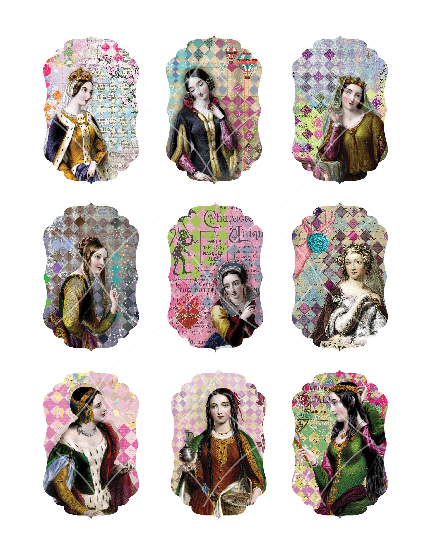 Digital Collage Sheet Plantagenet Queens Lt30 Tags Labels