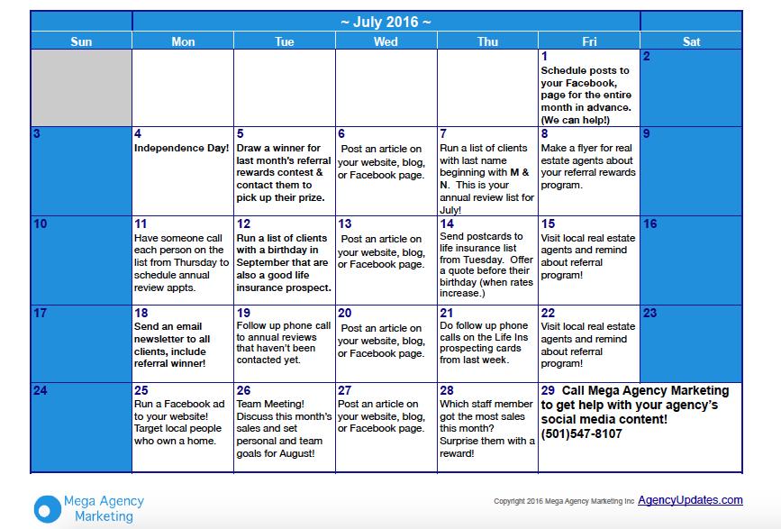 July Insurance Marketing Calendar Insurance Marketing Marketing