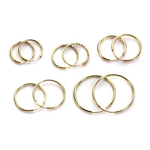 9ct Gold Plain 10mm - 20mm Hoop Sleeper Hoops/Sleepers/Earrings Vm8hS0