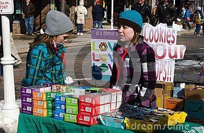 Cold girl scouts and cookies Editorial Image