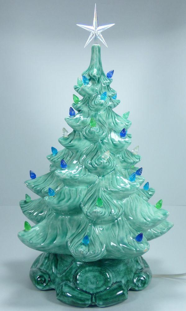 Vintage Atlantic Mold 16 Ceramic Christmas Tree Blue Green Gilbert