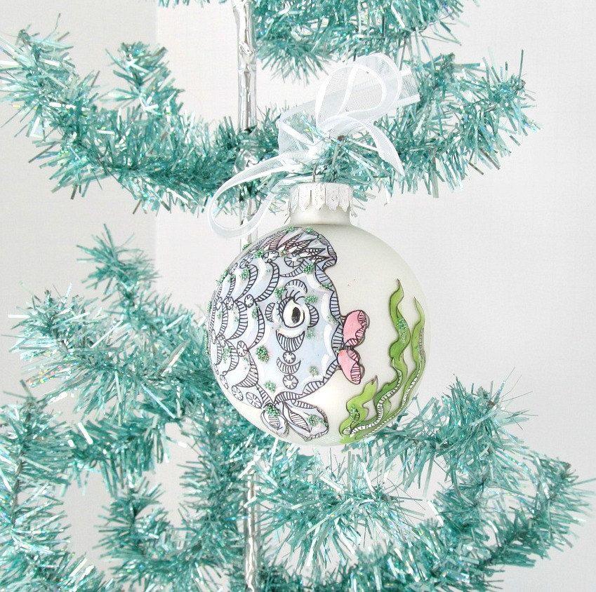Zentangle Christmas Bulb Tropical Fish Xmas Tree Ornament