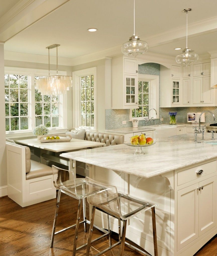 Kitchen Island With Booth Seating island extended bar. booth seating. pretty backsplash. chandelier