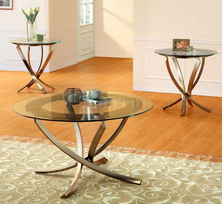 Glass Coffee Table Sets Glass Top Modern 3pc Coffee Table Set W