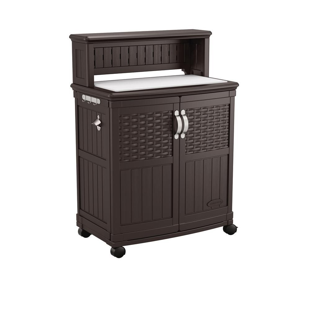 Suncast 47 Gal Patio Storage And Prep Station Bmps6400 The Home Depot Patio Storage Suncast Patio Deck Storage