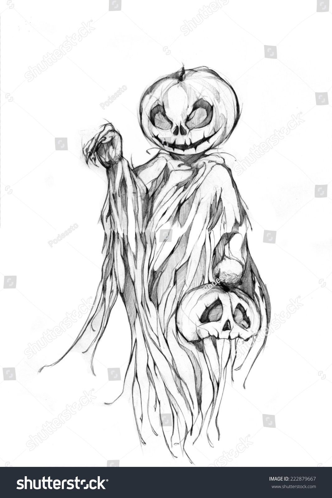 Pencil drawing, hand graphics Scary Jack O Halloween