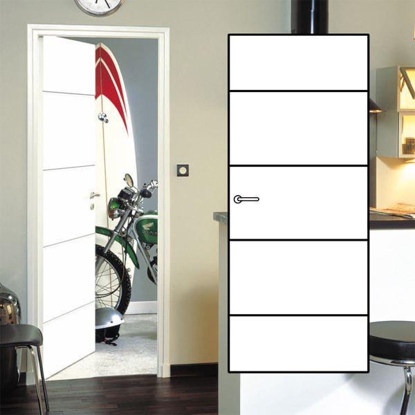 Bloc Porte Alvéolaire Graphik Ketch Blanc Huisserie Neolys 90 Mm