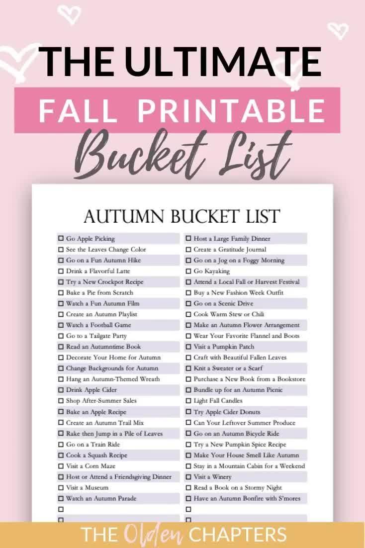 The Ultimate Fall Bucket List Printable