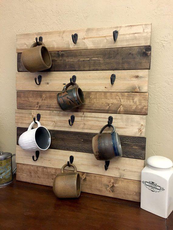 Coffee Cup Holder Coffee Mug Rack Coffee Decor Kitchen Rustic Farmhouse Coffee Decor Wood Mug Hooks Coffee Cup Display Kitchen Wall Decor
