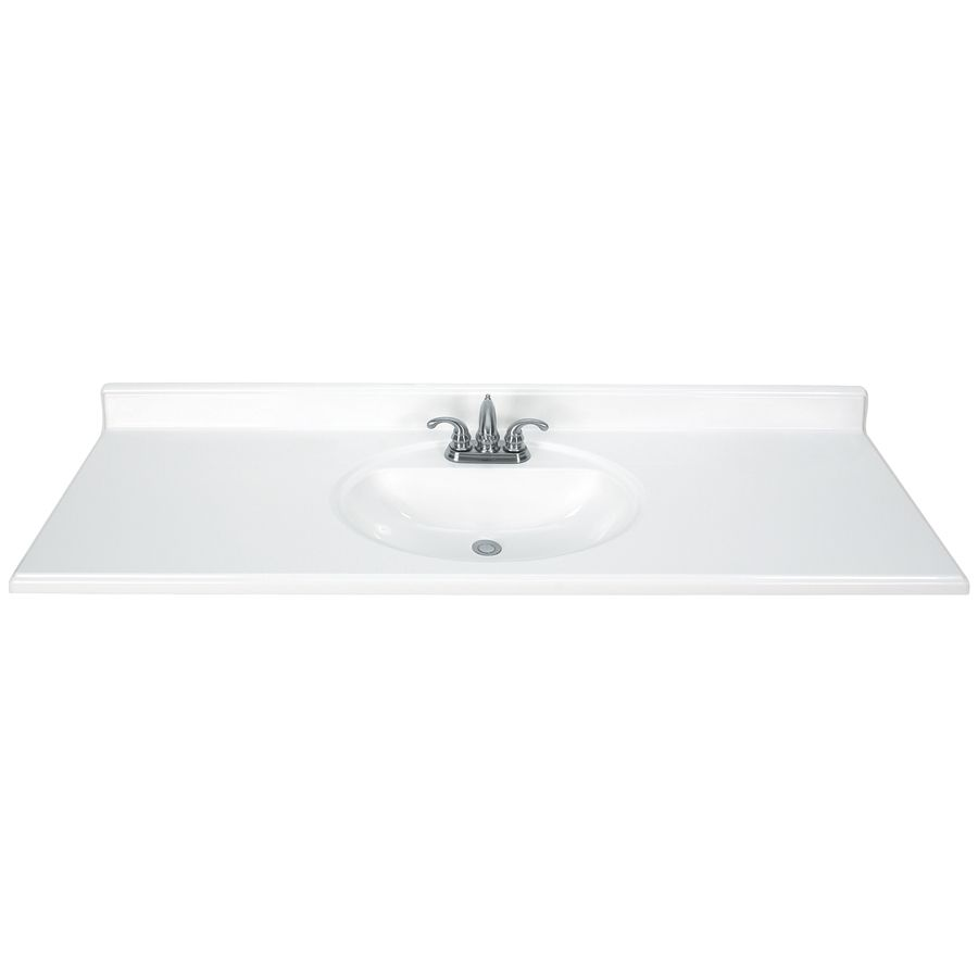 Style Selections White Cultured Marble Integral Single Sink Bathroom Vanity Top Common X Actual