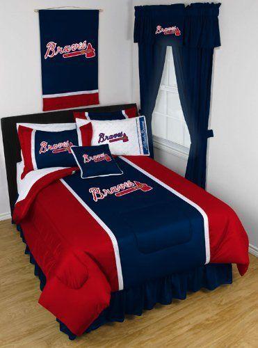 Atlanta Braves 6 Pc Twin Comforter Set Comforter 1 Flat Sheet 1 Fitted Sheet 1 Pillow Case 1 Sham 1 Bedskirt Baseball Bed Sports Bedding Atlanta Braves