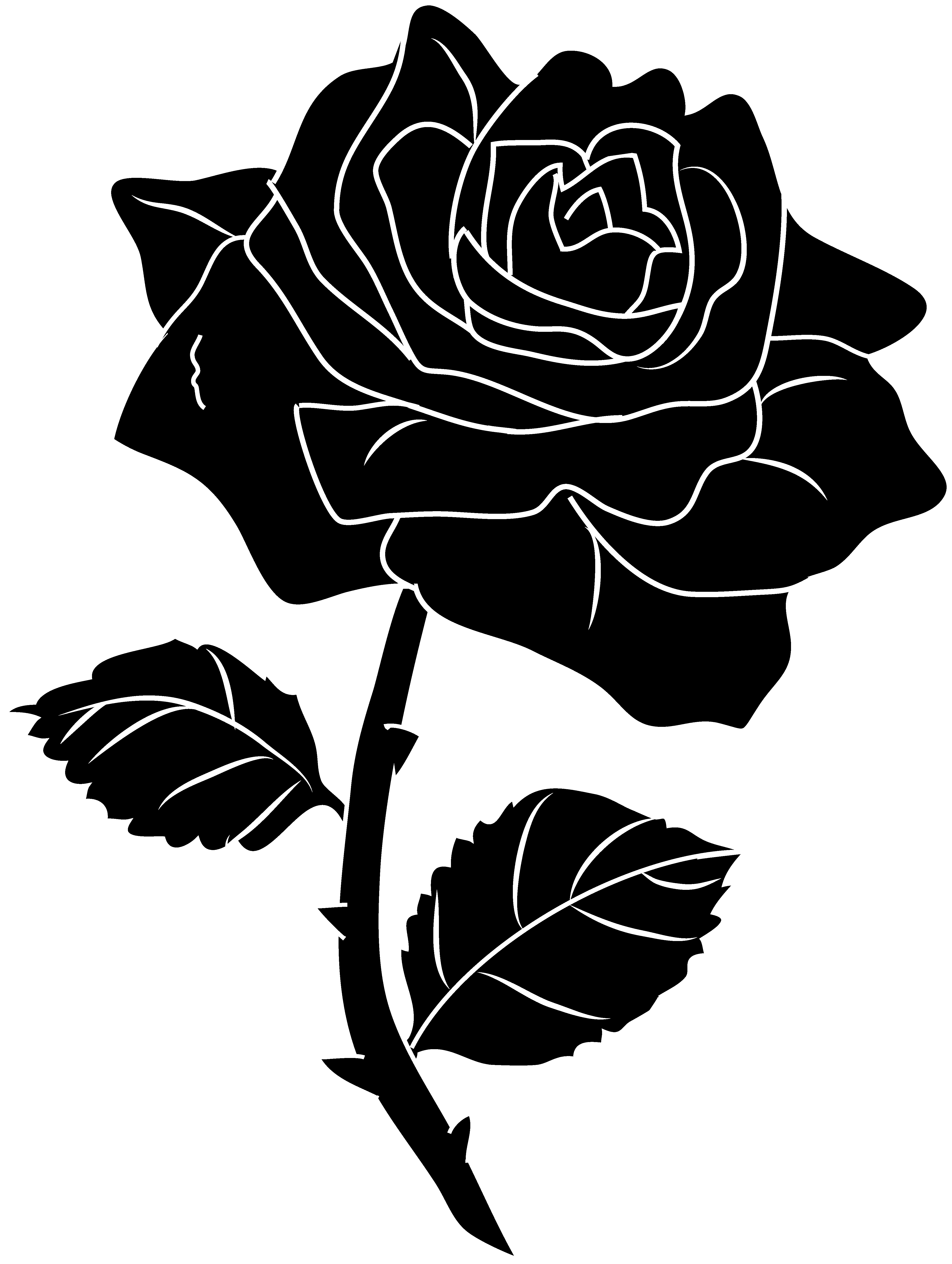 Rose black and white clipart collection Silhouette clip
