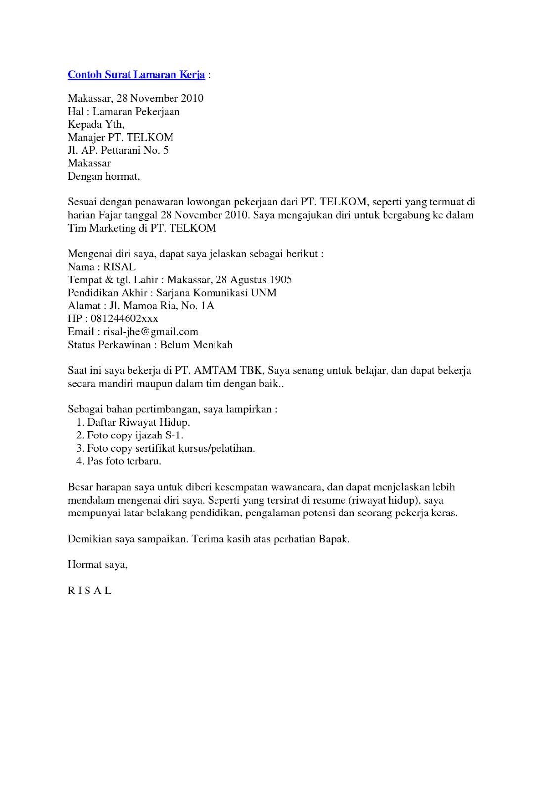 Surat Lamaran Kerja Bumn Contoh Lamaran Kerja Dan Cv Education