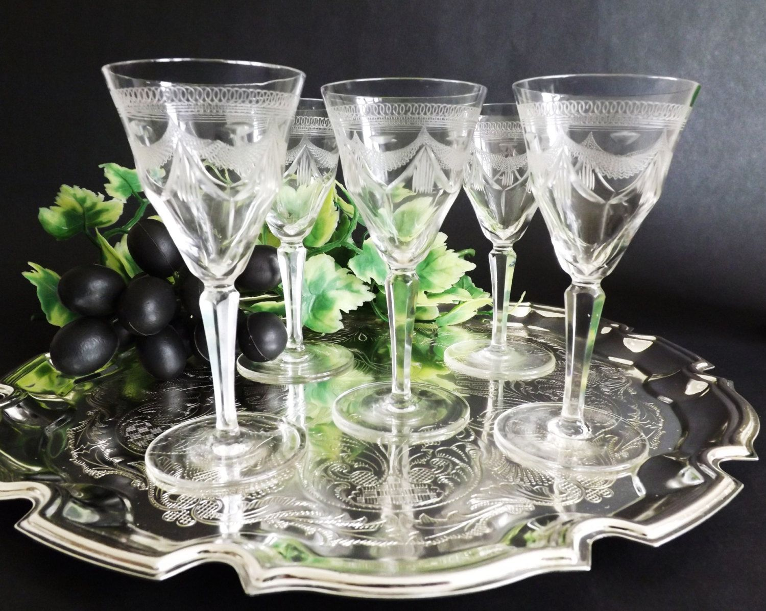 Antique Crystal Sherry Glasses, Fine Edwardian Port Glass, Liqueur Glasses, Etched Stemware, Vintage Pall Mall Stemware, Barware by CuriosAnCollectibles on Etsy