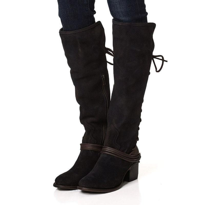 565a7feb05c Women Vintage Lace Up European Style Bandage Above Knee Boots ...