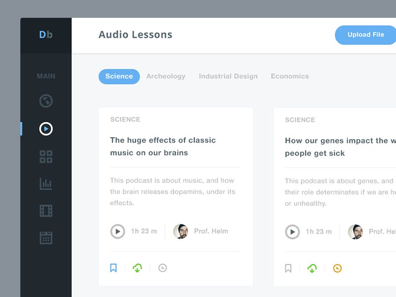 Dribbble - Dashboard for University's students by Matteo Pasuto