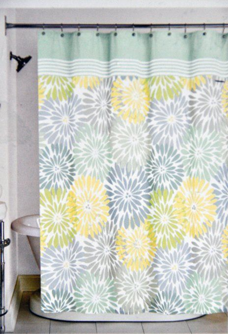 Peri Home Bayberry Fabric Shower Curtain Yellow Blue Green Gray Floral Design