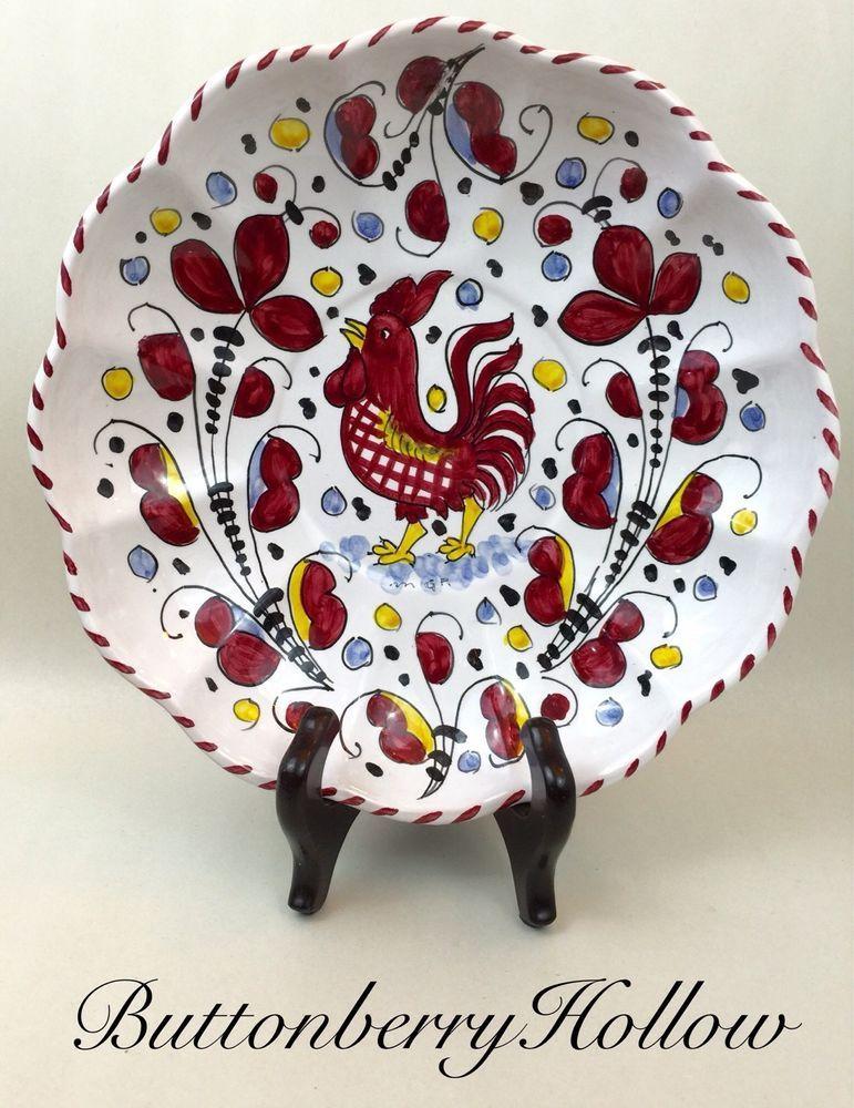 "Sambuco Mario Pottery Deruta Majolica Round Red Arabesco Rooster Plate 9 1 2"" | eBay"