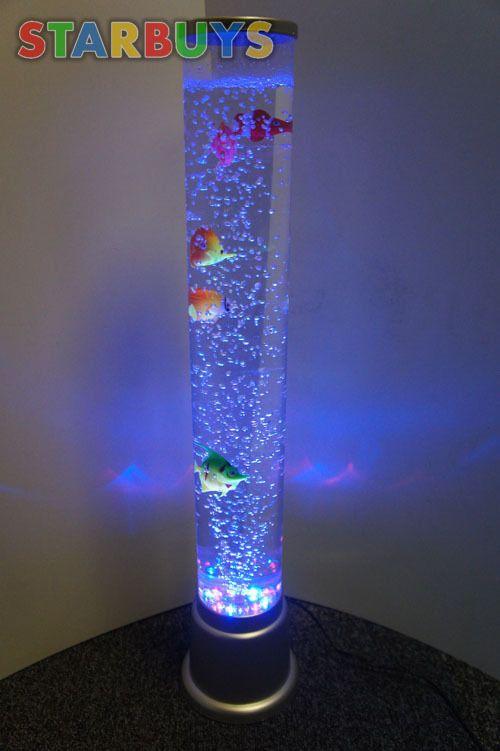 Colour Changing LED Sensory Light Mood Bubble Fish Water Tower Tube ...