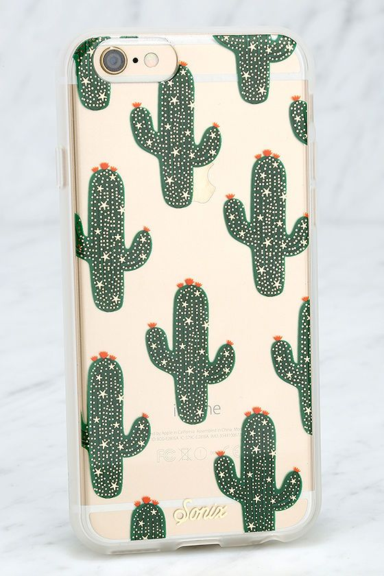 The Sonix Saguaro Green Cactus iPhone 6 and 6s Case is dedicated to the one you love - your iPhone! This clear plastic case has a green and metallic gold cactus print, plus shock-absorbent rubber sides, and access to all ports. Fits iPhone 6 and 6s.