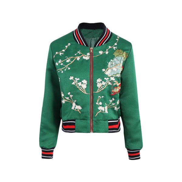 Flower Embroidered Striped Bomber Jacket (525 ARS) ❤ liked on Polyvore featuring outerwear, jackets, flight jacket, bomber style jacket, blouson jacket, green jacket and bomber jacket