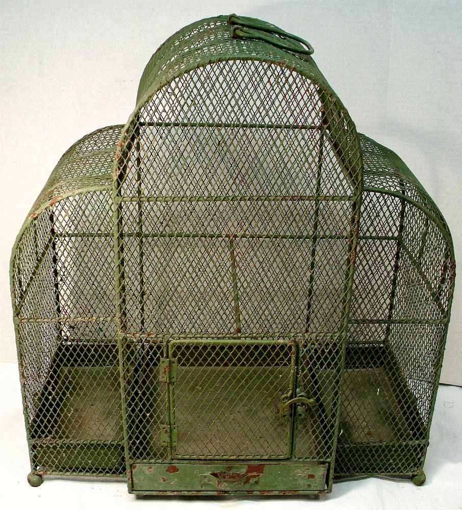 Antique Vintage Dome Green Wire Mesh Bird Cage 3 Removable