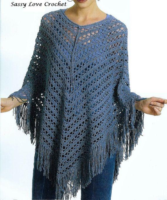 Women/'s Shawl  Knit Hand Crocheted Throwover Black Poncho