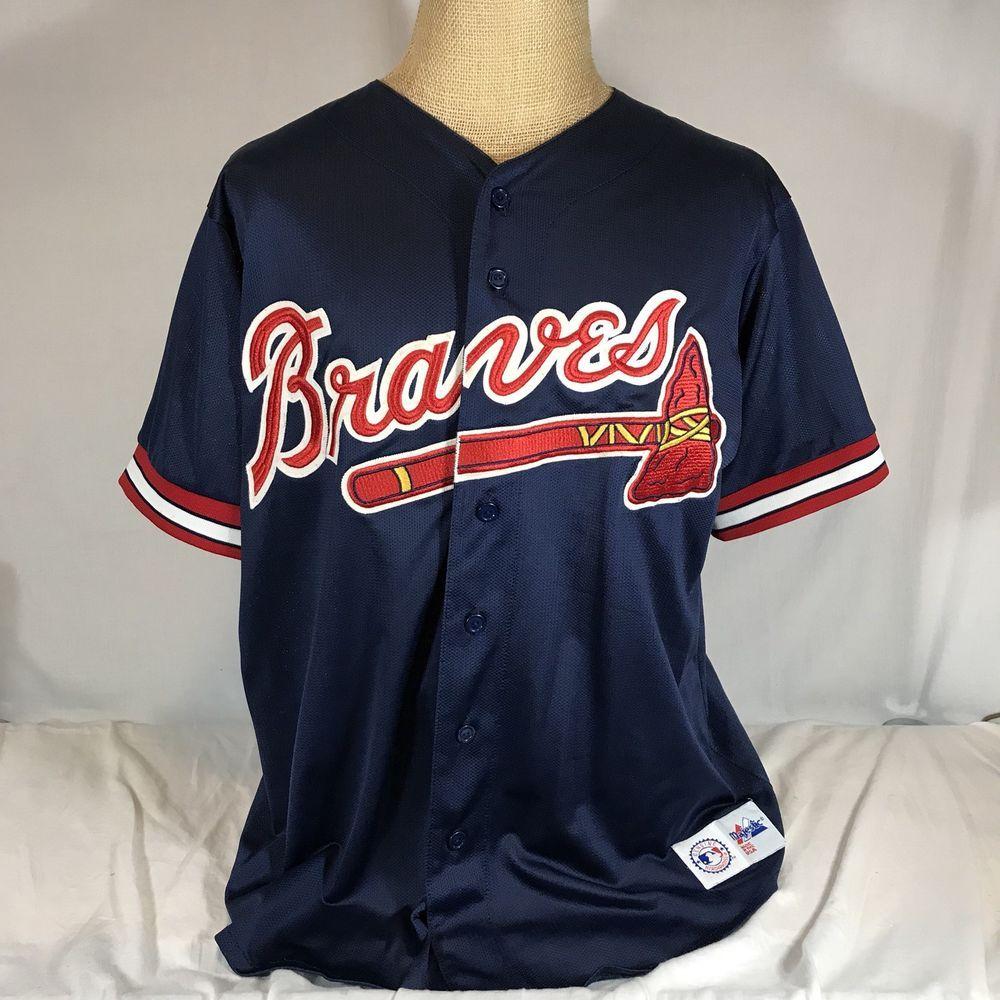 Vtg Atlanta Braves Mlb Navy Sewn Majestic Baseball Jersey Blank Back Xl Genuine Majestic Atlantabraves Atlanta Braves Jersey Shirt Fan Apparel