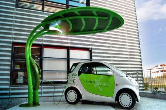Leaf Shaped Lotus Electric Vehicle Charger And Led Streetlight