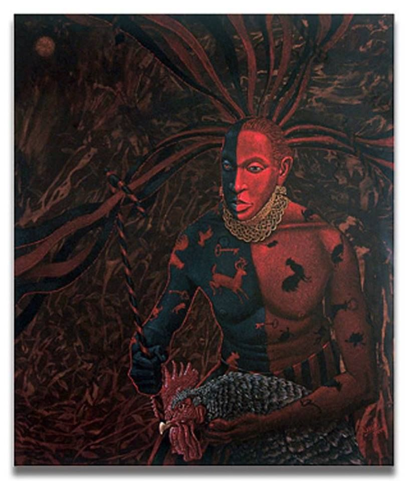 Image result for Eshu painted half of his body black and half red.