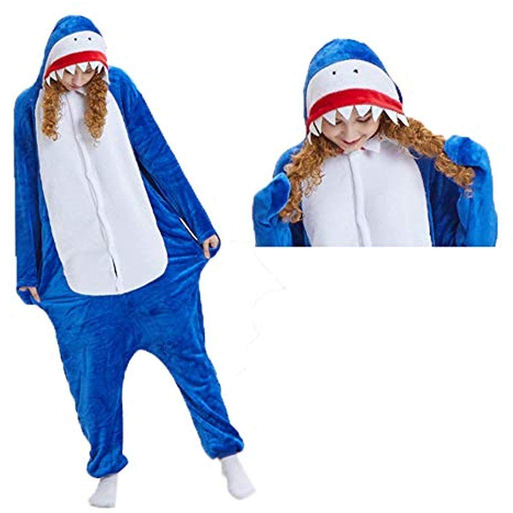4b7aada9f2382 ZHANGZHIYUA Costumes Unisexe pour Animaux Adultes Un Pyjama dune Seule  pièce en Peluche avec Requin Cosplay