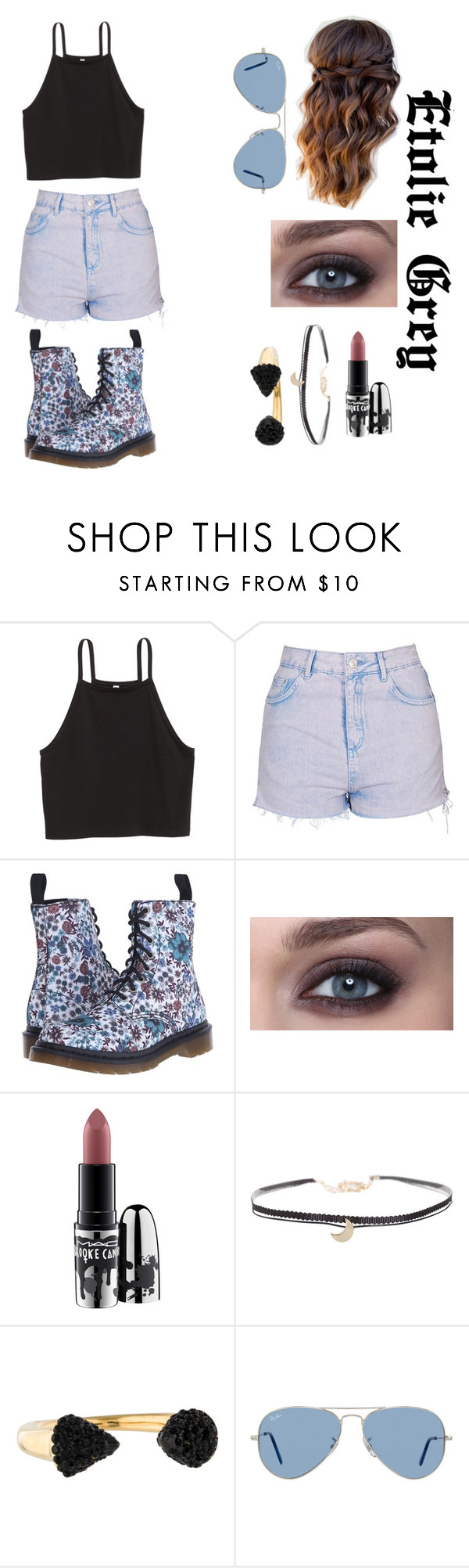 """""""Girls Day Out"""" by fallensunangel ❤ liked on Polyvore featuring Topshop, Dr. Martens, MAC Cosmetics, Humble Chic, Michael Kors and Ray-Ban"""