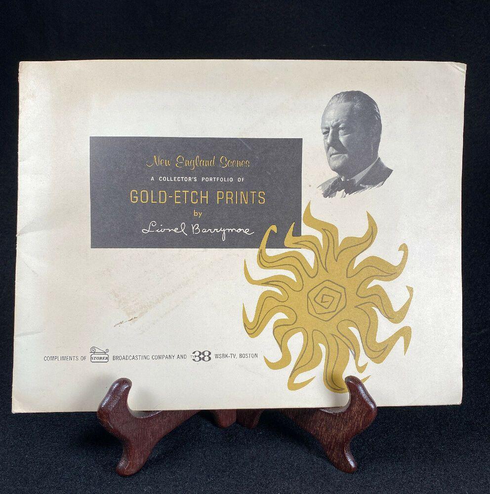 4 unique vintage lionel barrymore gold foil etch prints