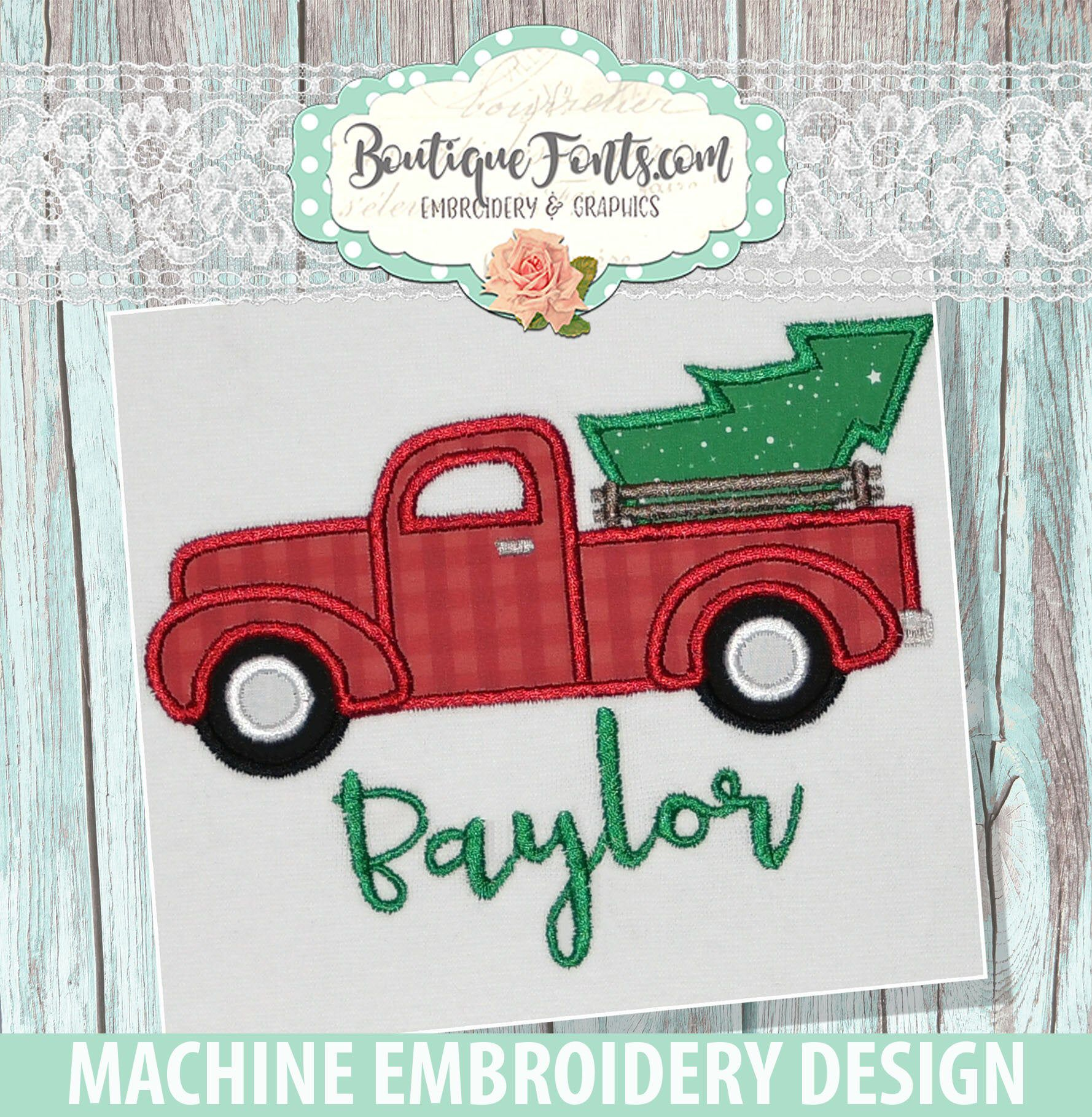 Christmas Tree Truck Applique Embroidery Design Instant Etsy In 2020 Applique Embroidery Designs Christmas Tree Truck Embroidery Designs