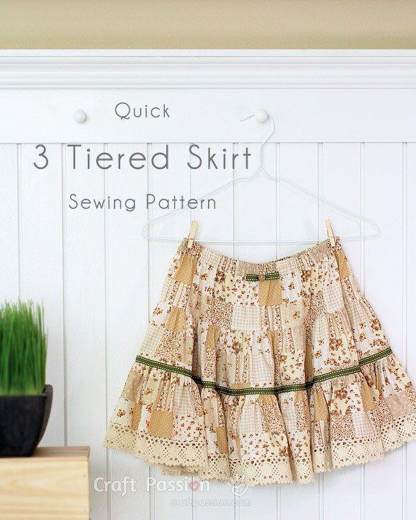 Tutorial: 3 tiered skirt | sewing patterns | Pinterest | Costura ...